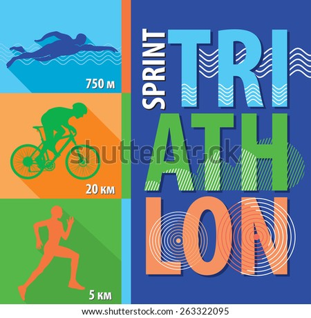 vector illustration triathlon