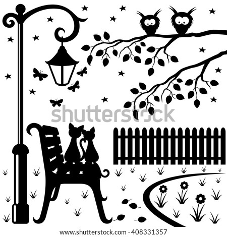 vector illustration two cats