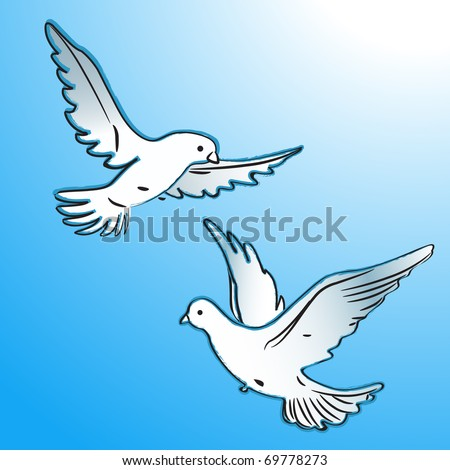Vector illustration.Two doves (pigeons) in flight, as a symbol of love or peace. Drawn a brush.