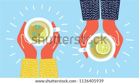 Vector illustration two friends drinking herbal Tea, Cup Mug, Top view of table in cafe. Woman friendship in autumn. Friendly support in difficult times. Tea with lemon.