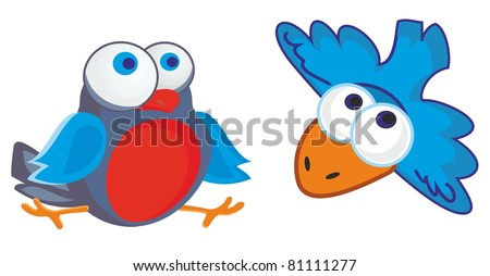 vector illustration - two funny little birds with big round eyes
