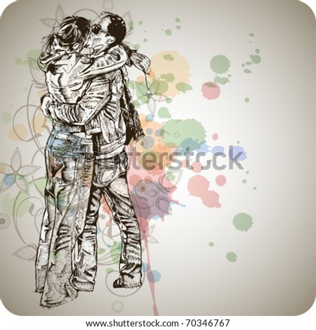 Vector illustration: Two lovers kissing & floral calligraphy ornament - a stylized orchid & color paint background - eps10