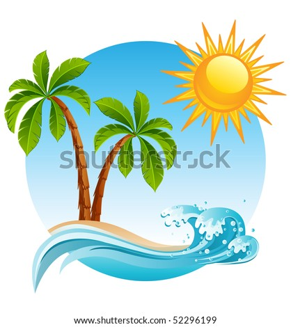 vector illustration   two palm