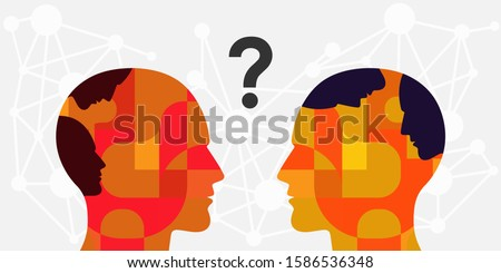 vector illustration two persons with faces inside and communication process for internal conflict and misunderstanding visual Foto d'archivio ©