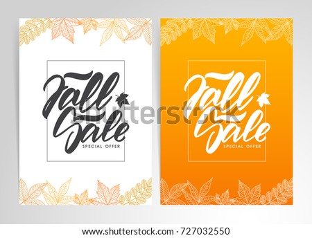 Vector illustration: Two template of posters with hand lettering of Fall Sale.