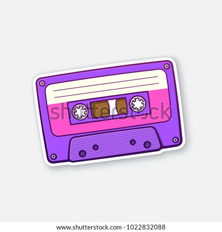 Vector illustration. Ultra violet retro audio cassette with pink stripe. Analog media for recording and listening stereo. Old-fashioned tape cassette. Sticker with contour. Isolated on white backgroun