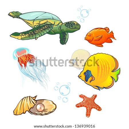vector illustration. underwater world with marine animals. vector illustration. underwater world with marine animals. fish, shell, jellyfish, starfish