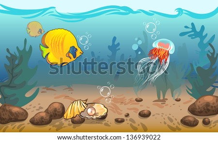 vector illustration. underwater world with marine animals. vector illustration. underwater world with marine animals. fish, shell, jellyfish