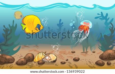 vector illustration. underwater world with marine animals. vector illustration. underwater world with marine animals. fish, shell, jellyfish