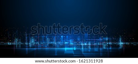 Vector illustration urban architecture, cityscape with space and neon light effect. Modern hi-tech, science, futuristic technology concept. Abstract digital high tech city design for banner background