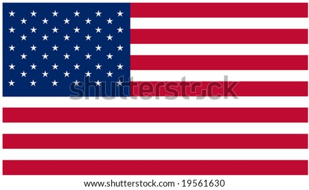Vector illustration US flag with official standard size and colors - stock vector