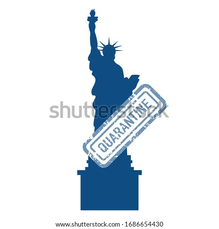 Vector illustration USA Coronavirus Pandemic Quarantine China virus COVID-19 Danger 2019-nCoV Outbreaks of influenza Famous American Statue of Liberty Reducing risk of infection, prevention measures
