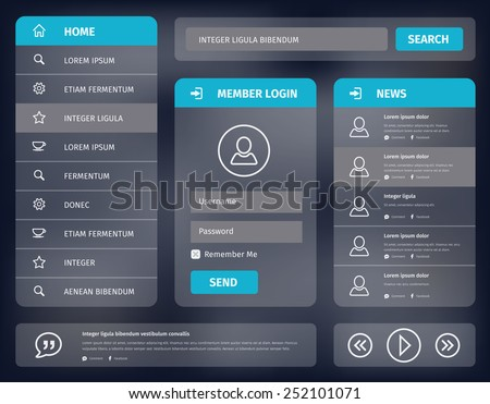 Vector illustration user interface for mobile or web with member login and vertical navigation. Simple outline icons.