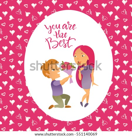 Vector illustration. Valentine's Day. Greeting card. Cartoon characters. Lovers man and woman.