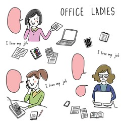 vector illustration - various actions of office ladies in workplace such as talking on phone, working on computer. Set of confident women working and busy office workers.