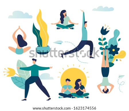 Vector illustration,  vector, concept of working hours meditation, break, steam yoga, health benefits of the body, mind and emotions, thought process