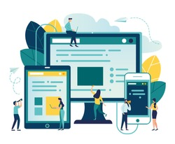 Vector illustration, vector, illustration of the concept of web page design and development of mobile websites, small people are working on creating a website, applications, transferring information