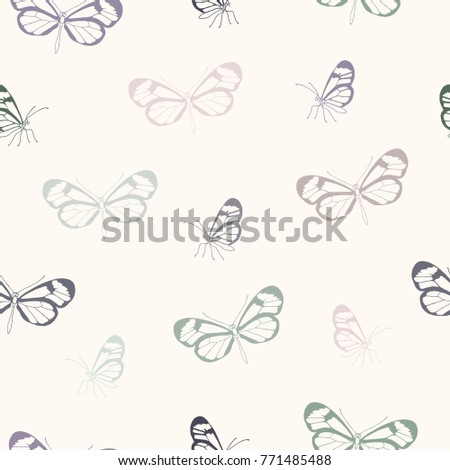 Vector illustration. Vector seamless butterfly pattern. Paper and fabric design . Print.