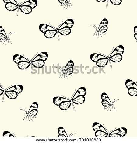 Vector illustration. Vector seamless butterfly pattern. Pen style drawing.