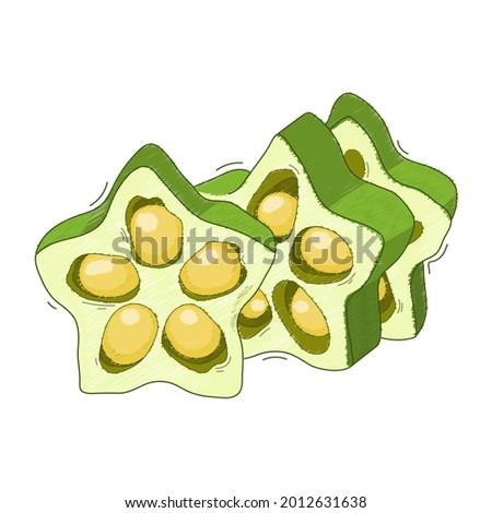 vector illustration, vegetable abelmos okra gombo on white background. Stock fotó ©