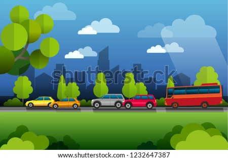 vector illustration, view of city traffic atmosphere with tree and building background. #1232647387