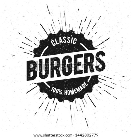 Vector Illustration Vintage Burgers Grilled Food Menu Stamp