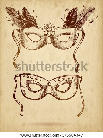 Vector illustration. vintage carnival  mask on paper background. ornate carnival mask