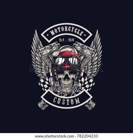 55b0e072 Vector illustration Vintage motorcycle Monochrome skull, motorcycle engines  and wing in helmet . t- · Motorcycle t-shirt graphics.