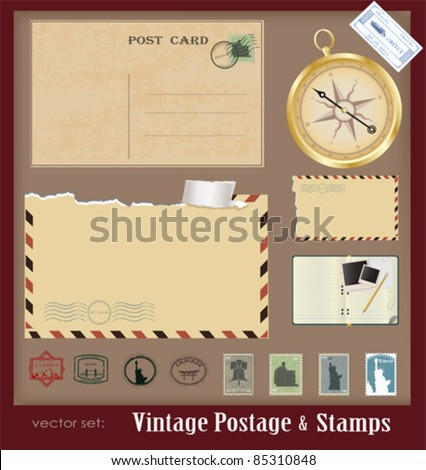 Vector illustration .Vintage postage and stamps