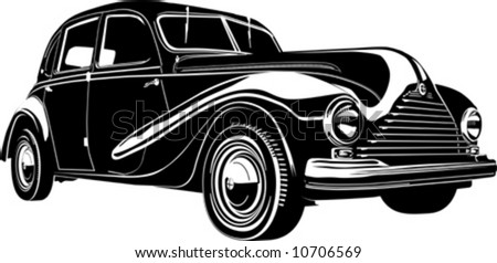 Vector illustration vintage retro automobile. Isolated on white background.