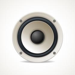 Vector illustration Vintage White Audio Speaker. Great sound