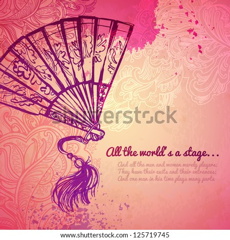 Vector illustration. vintage women's fashion fan. Opera theatrical props. blots and flowers on a pink background. girlish thing