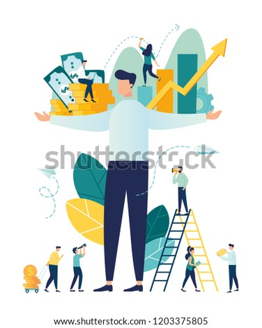 Vector illustration, virtual business assistant. card investment management. graphic design of mobile assistant, moving up, investing money in a project