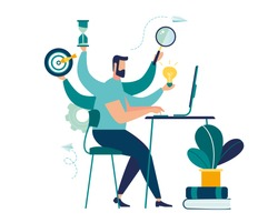 Vector illustration, virtual business assistant. card investment management.  vector,graphic design of mobile assistant, moving up, investing money in a project,multifunctional worker