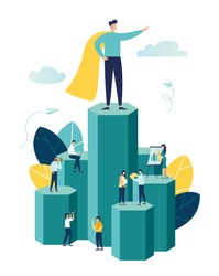 Vector illustration, virtual business assistant. teamwork on performance, brainstorming, card investment management. investing money in a project Vector