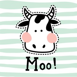 vector illustration, vute cow head on striped background