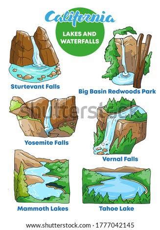 vector illustration waterfalls