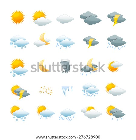 Vector illustration weather icon set isolated on a white background. the concept of change