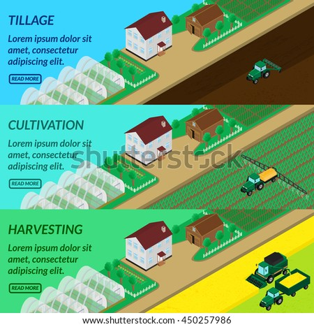 vector illustration. Web banner agriculture - plowing fields, spraying, harvesting. Tractor, combine. House, barn, greenhouses. Isometric, 3D