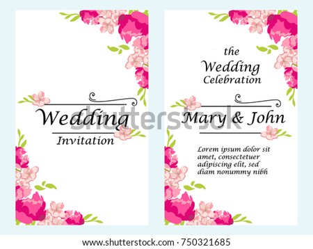 Vector illustration Wedding Invitation template. Modern design. Wedding Invitation design with peony flowers. Tradition decoration for wedding.