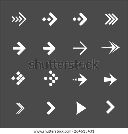 Vector illustration white arrows set on a black background. Flat Design