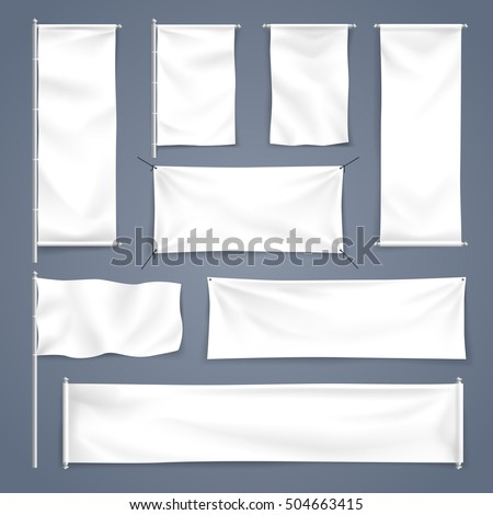 Vector illustration White blank textile banner with folds for advertising mock up #504663415
