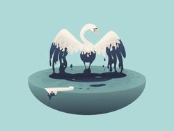 Vector illustration White Swan in an oil spill