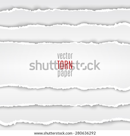 Vector illustration white torn paper. Template background