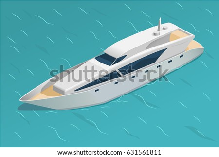 Vector illustration white yacht in the ocean.  Isometric