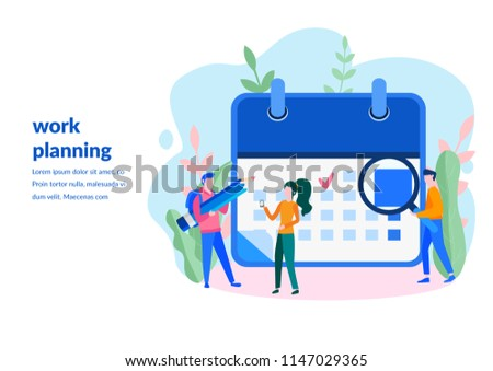 Vector illustration, whiteboard with schedule plans, work in progress, people filling out the schedule in the table, work planning, Concept for web page, banner, presentation, social media, documents,
