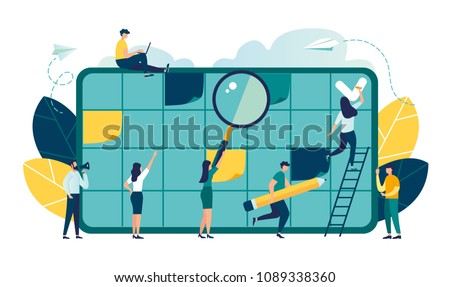 Vector illustration, whiteboard with schedule plans, work planning, daily routine, people filling out the schedule in the table vector