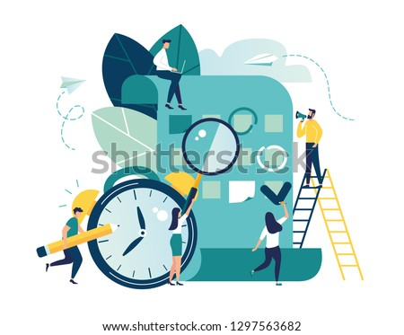 Vector illustration, whiteboard with schedule plans, work planning, daily routine, people filling out the schedule in the table - Vector
