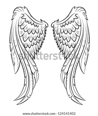 vector illustration wings  eps