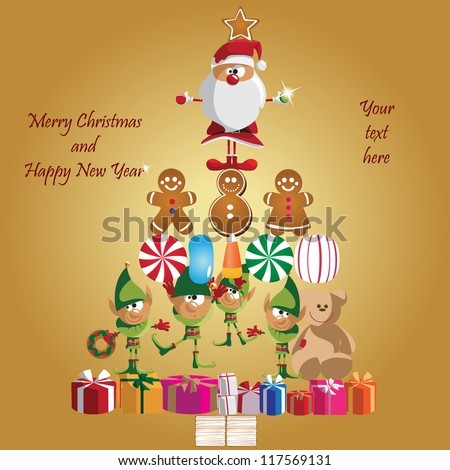 Vector illustration: Winter, Christmas, seasonal greeting card graphic design elements (Part 9)